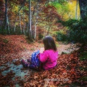 Jugando en el suelo del bosque.